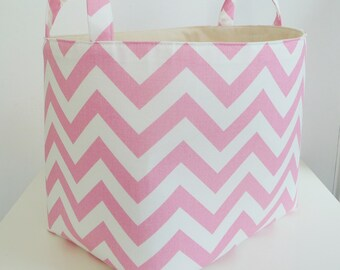 Chevron Storage Basket Fabric Organizer with Handles in Zig Zag Baby Pink - Your choice of size