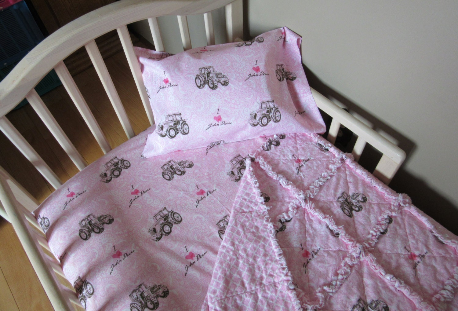 I Love Heart JOHN DEERE Pink Paisley Fabric Crib Bedding