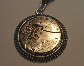 Steampunk Necklace, Elegant Waltham Timepiece, Exquisite Spiral Etchings, Circa 1903,