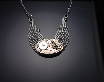 Steampunk Necklace, Vintage Watch Movement, Antiqued Silver Wings, Gunmetal Finished Chain