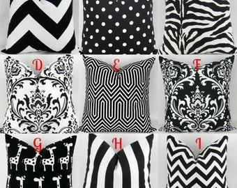 Black & White Throw Pillow Covers -18x18 inch- Mix/Match patterns pillow sham euro throw bold modern Damask Stripe Premier Prints FREESHIP