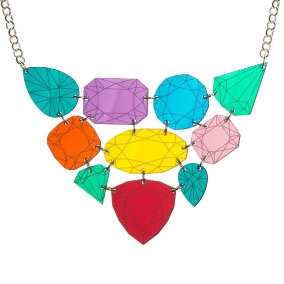 Gemstone necklace - laser cut mirror acrylic