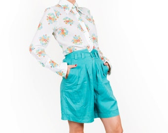 Vintage Mint Turquoise Cotton Wide Shorts / Bermuda Shorts / High Waisted Green Shorts / Womne's Size Small