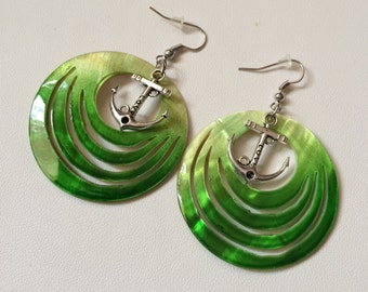 Green mother of pearl shell & Anchor Charm Dangle Earrings, shell jewelry,