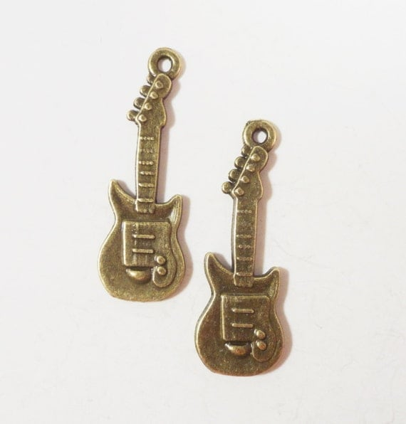 Bronze Guitar Charms 30x10mm Antique Brass Metal Musical Instrument Band Charm Pendant Jewelry Making Jewelry Findings Craft Supplies 10pcs