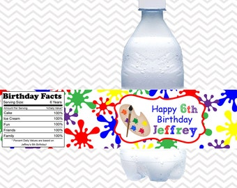 Art Party Water Bottle Labels / Kids Art Party Water Bottle Labels / Printable Art Party Decoration / Art Party Water Proof Labels