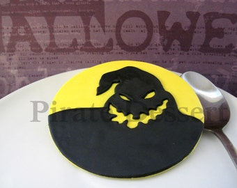 OOGIE BOOGIE Edible Cake Topper - Nightmare Before Christmas cake Topper - Halloween Fondant cake topper - Full moon shadow (1 piece)