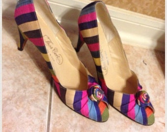 Vintage Thos Cort Peep Toe Taste the Rainbow StripedHeels Ladies Sz7AAAA USA