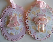 4 Set - LACY BABY GIRL Gift Tags - Cute Tags - Pink Baby Gift Tags