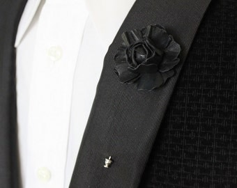 Leather flower lapel pin, black leather grooms boutonniere