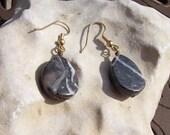Dark Desert Marble Tear Shaped Earrings with Gold Plated Surgical Steel Ear Hooks
