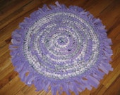 Rag Rug Round Fringed Handmade Crochet in Purples Shabby Primitive Cottage Chic Bed Bath Kids Home Decor Accent