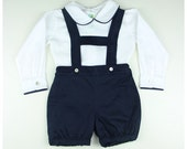 Baby boy outfit - Boy cotton long sleeve shirt and navy blue shorts - Other colors available