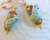 SALE Clip Earrings of Lamp Work Frog on a Log with Gold Beads