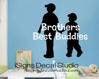 Brothers Best Buddies Decal, Boys Room Decal, Kids Room Decal, Brothers Wall Decal