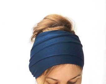 navy blue head scarf jersey headwrap xl extra long head band hair loss head cover headscarf