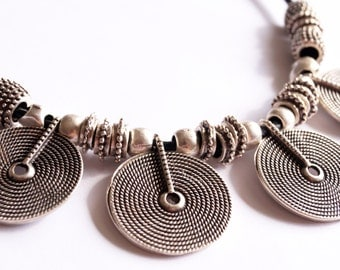 COIN NECKLACE boho bohemian jewelry silver plated necklace black leather gypsy hippie ethnic authentic style necklace gift ideas