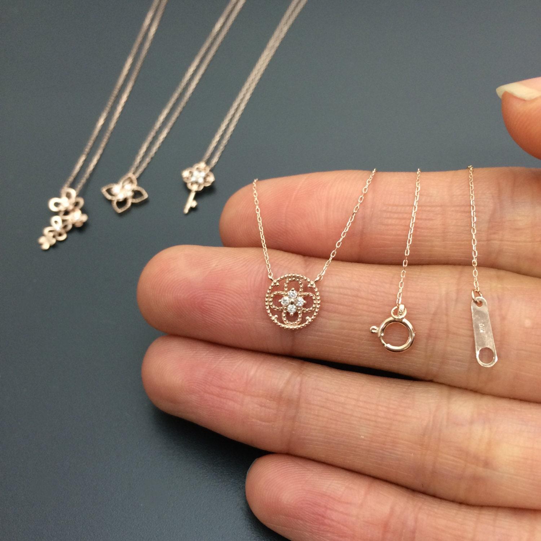 diamond circle pendant rose gold diamond dainty necklace solid. Black Bedroom Furniture Sets. Home Design Ideas