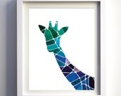 Navy blue teal purple geometric art giraffe art print wall art minimalist modern animal nursery art prints modern animal print mosaic art