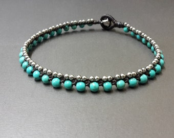 Turquoise  Ball  Silver  Anklet
