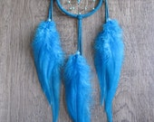 Turquoise Suede Dream Catcher with Turquoise Rooster Saddle Feathers