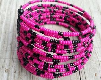 Free Form Black/Pink Cuff Bracelet
