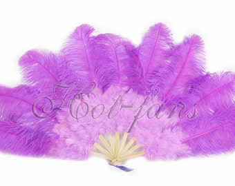 "24""x 43""  Lavender  Marabou & Ostrich Feathers Hand Fan With Bamboo Staves"