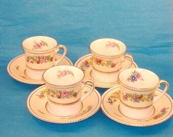 Vintage Porcelain Simpsons Demitasse Espresso Cup and Saucer, Set of 4 - Ambassador Ware Demitasse Set Made in England
