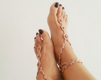 Desert Linen color with beads Barefoot Sandals, Nude shoes, Foot jewelry, Bridal Accessories, Victorian Lace, Sexy, Lolita, Yoga, Ankle