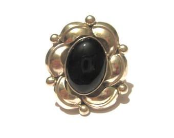 SALE Large Vintage Navajo Sterling Silver & Black Agate Foliate Ring