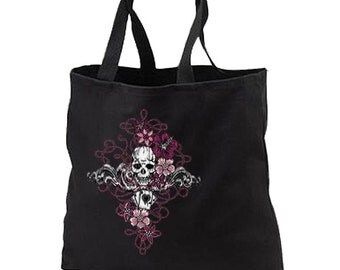 Gothic Skull Playing Cards New Black Tote Bag Gifts Events Books