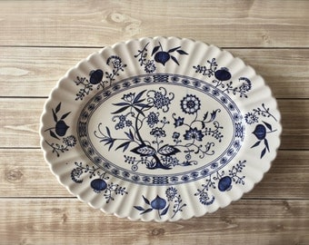 Meakin Blue Nordic 12 Inch Serving Platter - Blue & White China - Mismatched China - Ironstone - Made in England