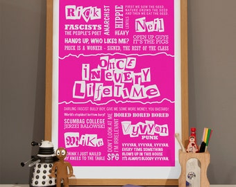 Once In Every Lifetime - Young Ones Typographic Print in Shocking Pink. Available in A2 or A3