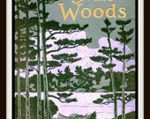 "Store-Wide Sale Vintage Book Cover ""The Way of the Woods"" by Edward Breck - published in 1908 - Giclee Art Print on Canvas"
