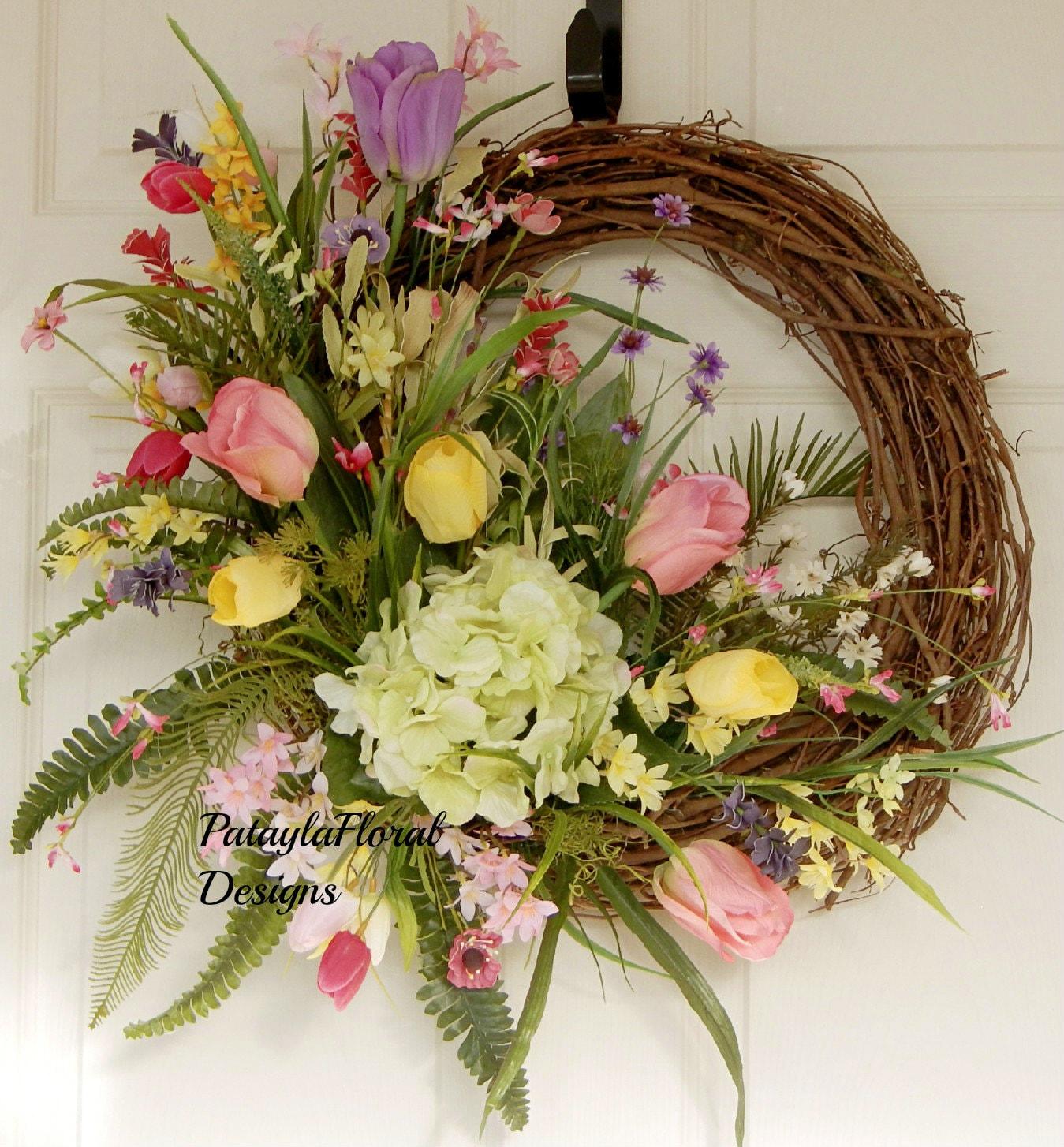 Indoor Wreaths Home Decorating: Outdoor Indoor WreathTuliip Wreath Everyday Wreath Colorful