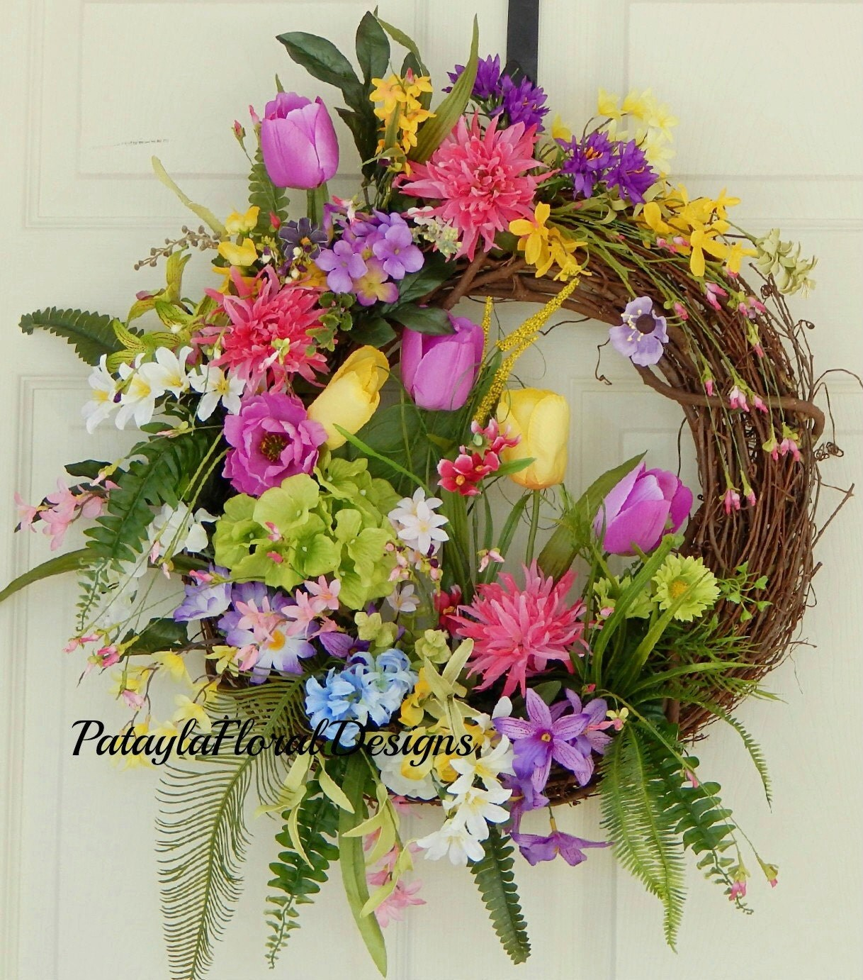 Charming Spring and Summer Outdoor Wreath with Pink