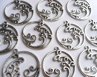 5 Antiqued Silver Round Water Element Charms Pendants 32x29mm     -S4CS3-1