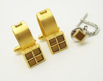 Vintage Dante Cufflink Tie Tack Set 1970s Mens Vintage Jewelry H698