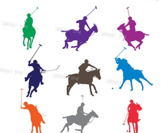 Polo player silhouette digital clipart vector eps png files Clip Art Images Instant Download