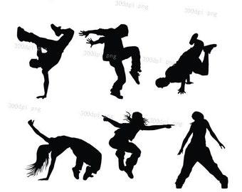 Dancers  silhouette digital clipart vector eps png files Clip Art Images Instant Download