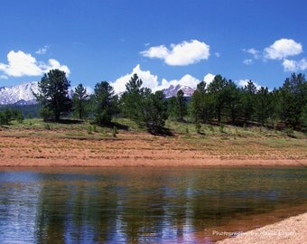 Mountain Lake Photography. Colorado Lake with Plush Trees.