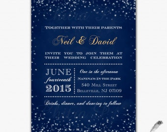 starry night wedding invitation printed chalkboard engagement winter navy gold royal blue white bridal - Starry Night Wedding Invitations