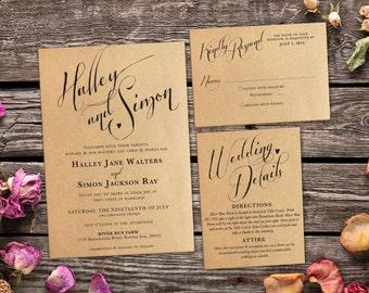 Rustic Kraft Wedding Invitation Suite - Vintage Country Printable Invite - Print at Home Boho Style Set with RSVP and Details Card