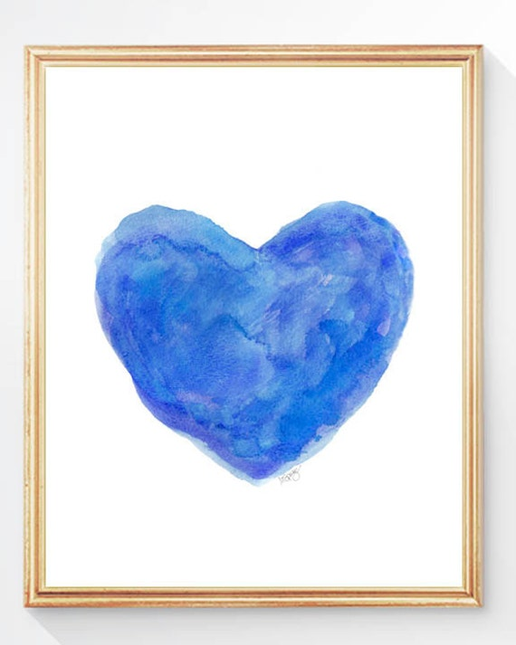 Blue wall decor royal blue art watercolor by for Blue wall art
