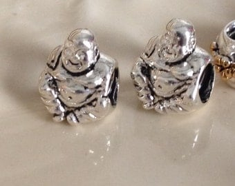 925 Sterling silver Plated bhudda man sitting european large hole type charm. Free shipping.