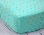 Fitted Crib Sheet, Modern Aqua and Gold Crib Sheet, Baby Bedding