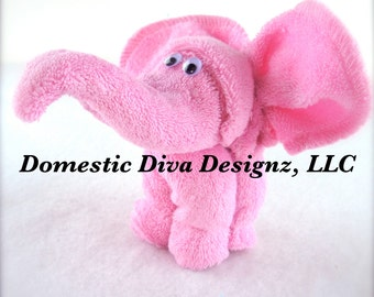 Diaper Cake - Baby Washcloth Elephant Favors, Diaper Cake, Safari Baby Shower Favors Washcloth Animals