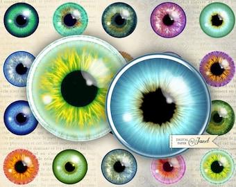 EYE pupil - circles image - digital collage sheet - 1 x 1 inch - Printable Download