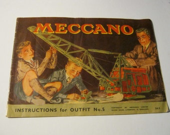 Meccano Instruction Cover and Back attached 1940s