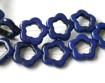 11 Lapis Blue Turquoise, Magnesite, Gemstone Bead Frames
